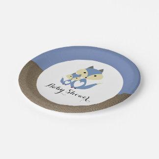 Blue Fox Burlap Baby Shower 7 Inch Paper Plate