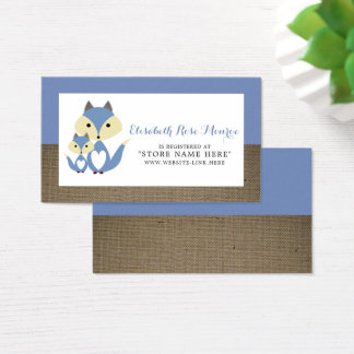 Blue Fox Burlap Baby Shower Gift Registry Business Card