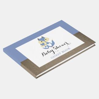 Blue Fox Burlap Baby Shower Guest Book