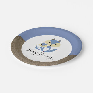 Blue Fox Burlap Baby Shower Paper Plate