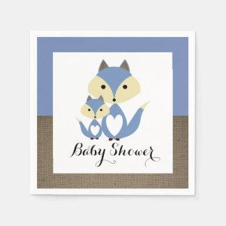 Blue Fox Burlap Baby Shower Paper Serviettes