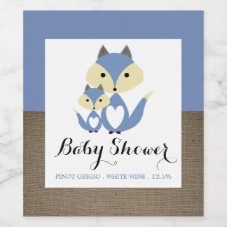 Blue Fox Burlap Baby Shower Wine Label