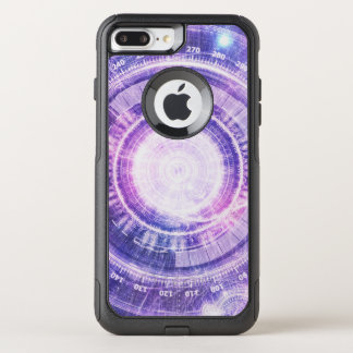 Blue Fractal Alchemy HUD for Bending Hyperspace OtterBox Commuter iPhone 8 Plus/7 Plus Case