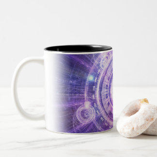 Blue Fractal Alchemy HUD for Bending Hyperspace Two-Tone Coffee Mug