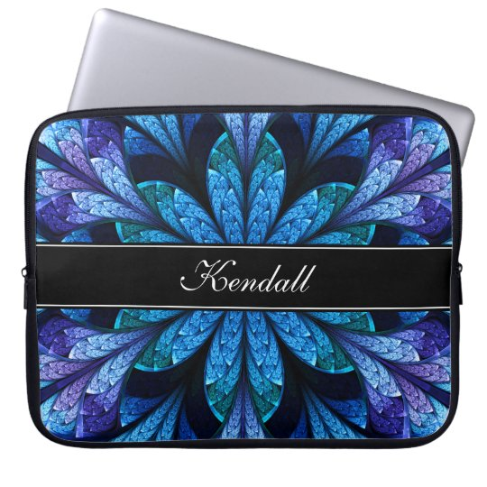 Blue Fractal Flower Neoprene Laptop Sleeve