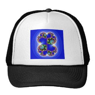 blue fractal image mesh hat