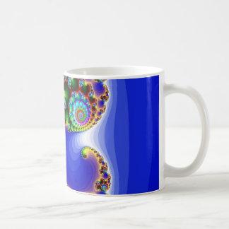 blue fractal image mugs