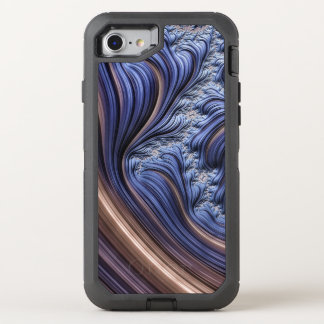 Blue fractal image OtterBox defender iPhone 7 case