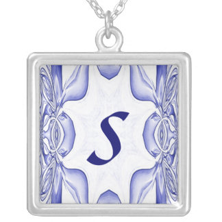 Blue Fractal Initial Necklace