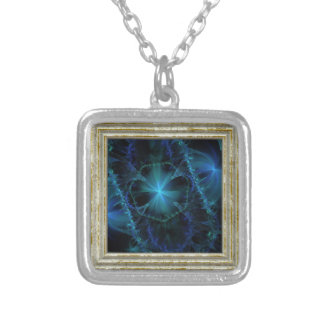 Blue Fractal Pattern Silver Plated Necklace