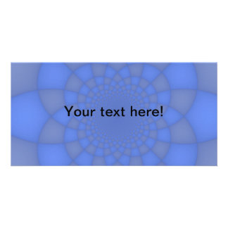 Blue fractals customized photo card