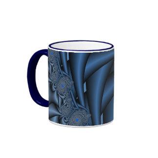 Blue Fractals Ringer Mug