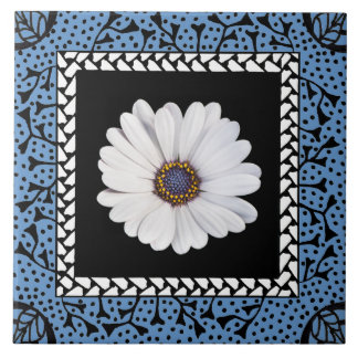 Blue Frame Ceramic Tile for Your Image