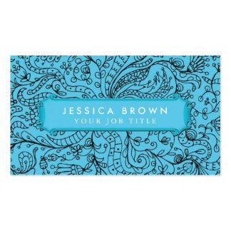 Blue frame flower composition Business Card