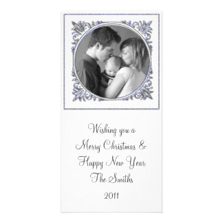 Blue Frame Personalized Photo Card