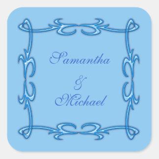 Blue frame square sticker