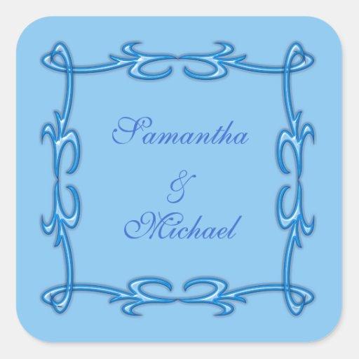 Blue frame square stickers