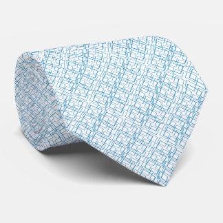 Blue Frames Geometric White Tie