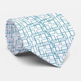 Blue Frames II Geometric White Tie