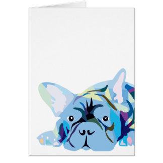 Blue French Bulldog Card