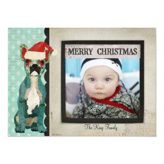 Blue French Bulldog Christmas Photo Card 14 Cm X 19 Cm Invitation Card