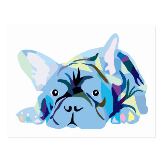Blue French Bulldog Postcard