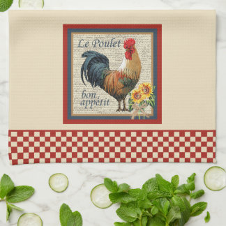 Blue French Country Kitchen Rooster Tea Towel
