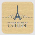 Blue French Flourish Bookplate Stickers