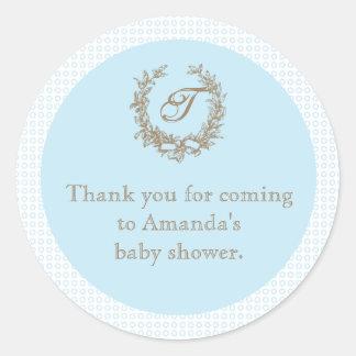 Blue French Monogram Baby Shower Favor Sticker