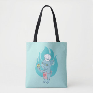 Blue Frenchie and his magical love cupcake Tote Bag