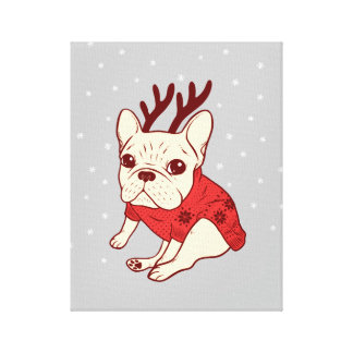 Blue Frenchie in Christmas Sweater Canvas Print