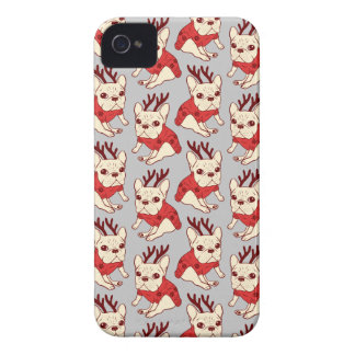 Blue Frenchie in Christmas Sweater iPhone 4 Case