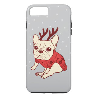 Blue Frenchie in Christmas Sweater iPhone 8 Plus/7 Plus Case