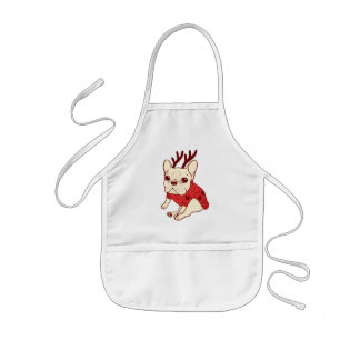 Blue Frenchie in Christmas Sweater Kids Apron