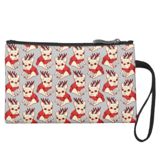 Blue Frenchie in Christmas Sweater Suede Wristlet