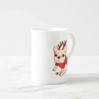 Blue Frenchie in Christmas Sweater Tea Cup