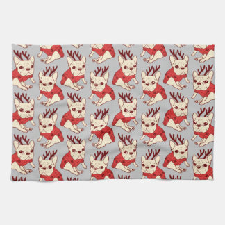 Blue Frenchie in Christmas Sweater Tea Towel