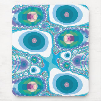 Blue Fried Eggs and Jewels Fractal Mouse Pads