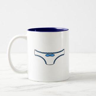 Blue Frilly Panties Two-Tone Coffee Mug