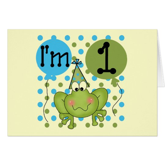 Blue Frog 1st Birthday Tshirts and Gifts Greeting Card