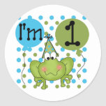 Blue Frog 1st Birthday Tshirts and Gifts Round Sticker