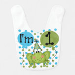 Blue Frog First Birthday Bib