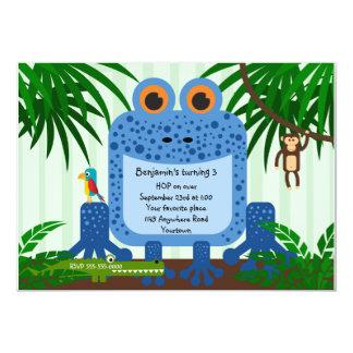 Blue Frog Jungle Theme Birthday Invitation