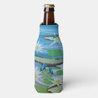 Blue Frogs On Lily Pads, Bottle Cooler