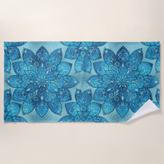 Blue  Frosted Stained Glass Flower Pattern Beach Towel