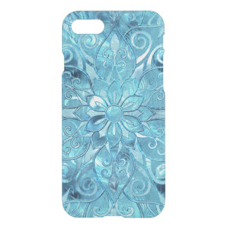 Blue  Frosted Stained Glass Flower Pattern iPhone 8/7 Case