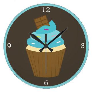 Blue Frosting Rainbow Sprinkles Cupcake Large Clock