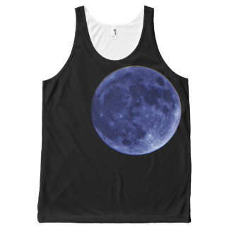 Blue full moon black night sky All-Over print tank top