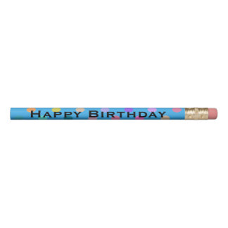 Blue fun dots colorful confetti birthday pencil