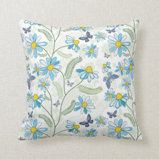 Blue Funky Daisy and Ferns Pattern Cushion